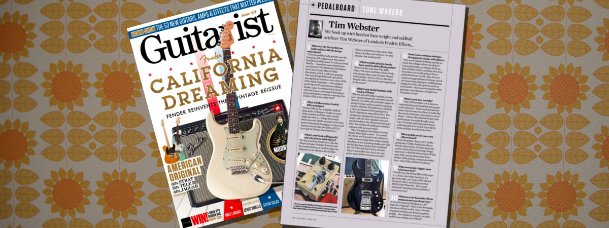 <span class='slidehead'>Guitarist Magazine</span><br>Fredric Effects are featured in the April 2018 issue of Guitarist Magazine.